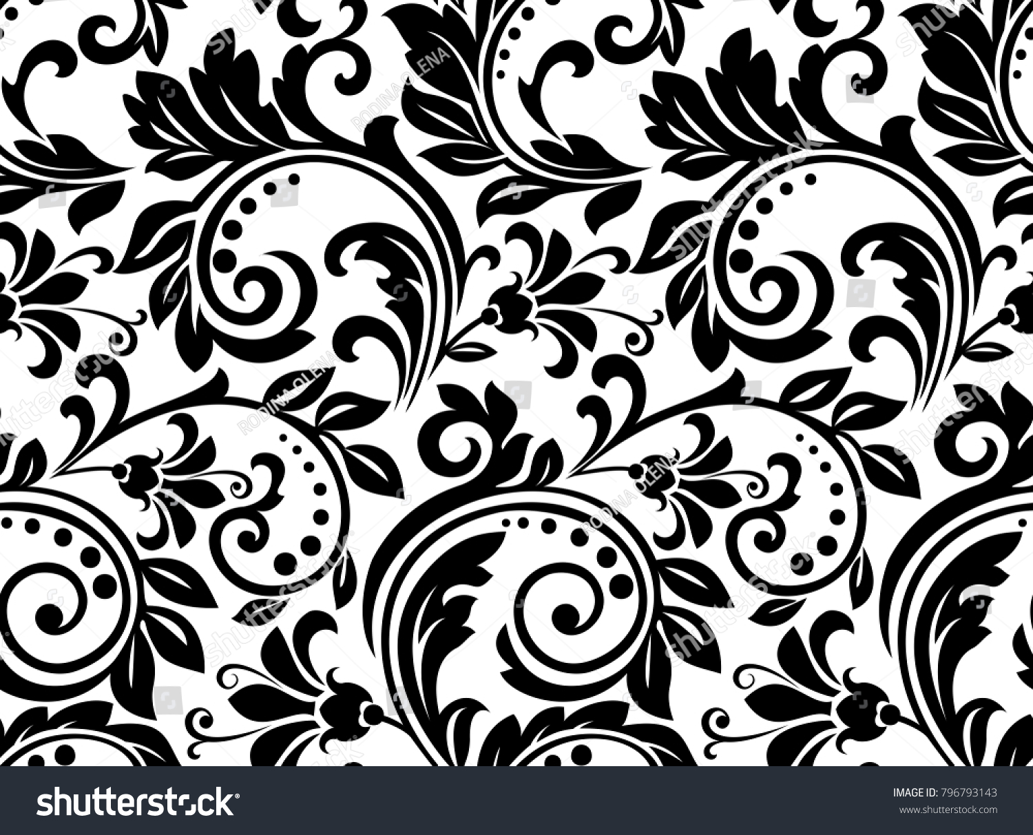 Floral Pattern Wallpaper Baroque Damask Seamless Stock Image