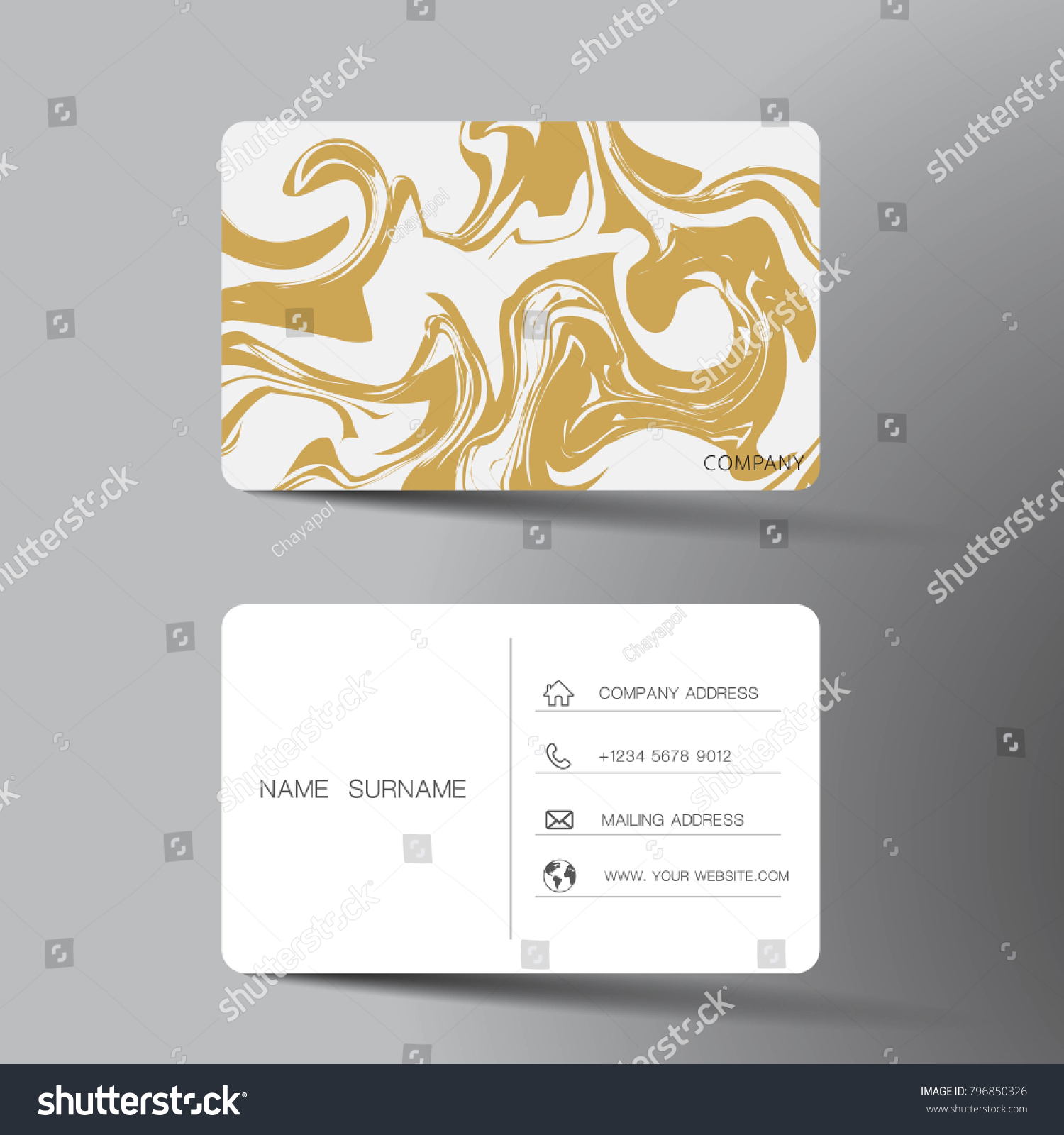 White Gold Business Card Template Design Stock Vector