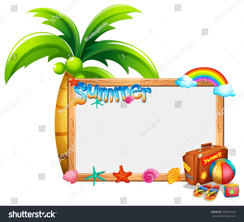 border template summer theme illustration stock vector royalty free