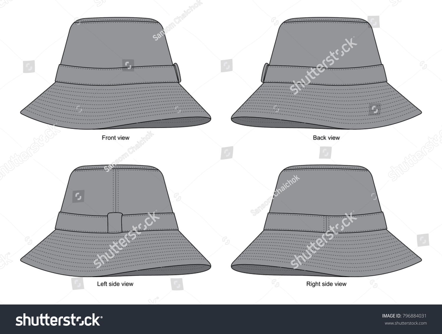 grey bucket hat template stock vector royalty free 796884031