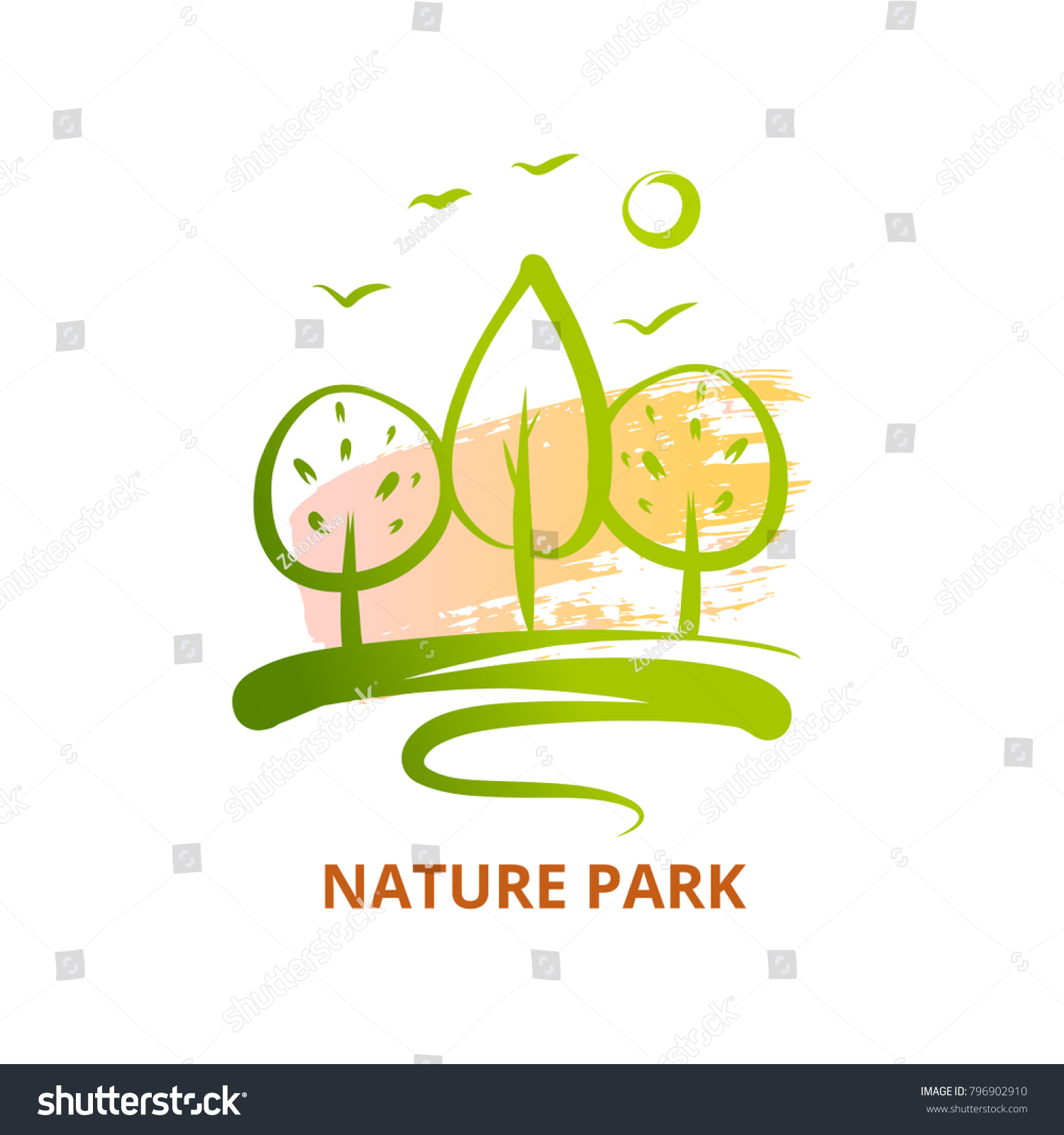 Nature National Park Bird Sun Template Stock Vector Royalty Free