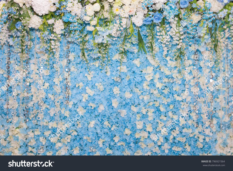 Wedding Backdrop Blue Flowers Wedding Decorations Stock