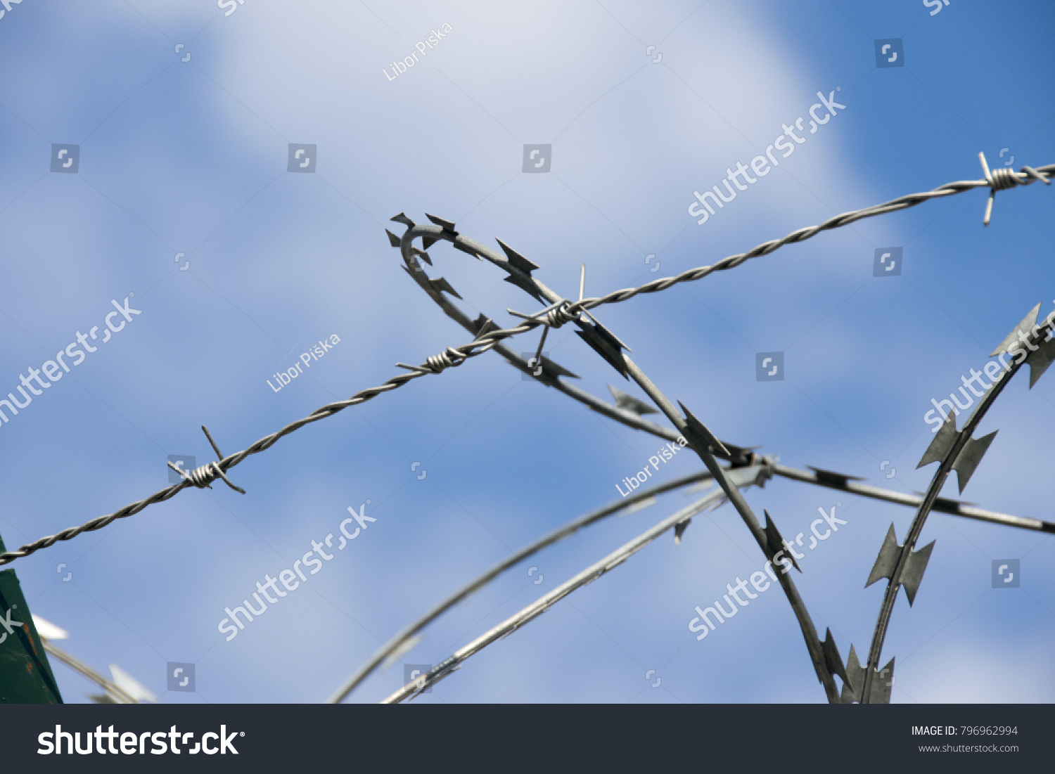 Protective Coils Sharp Barbed Razor Wire Stock Photo (Royalty Free ...