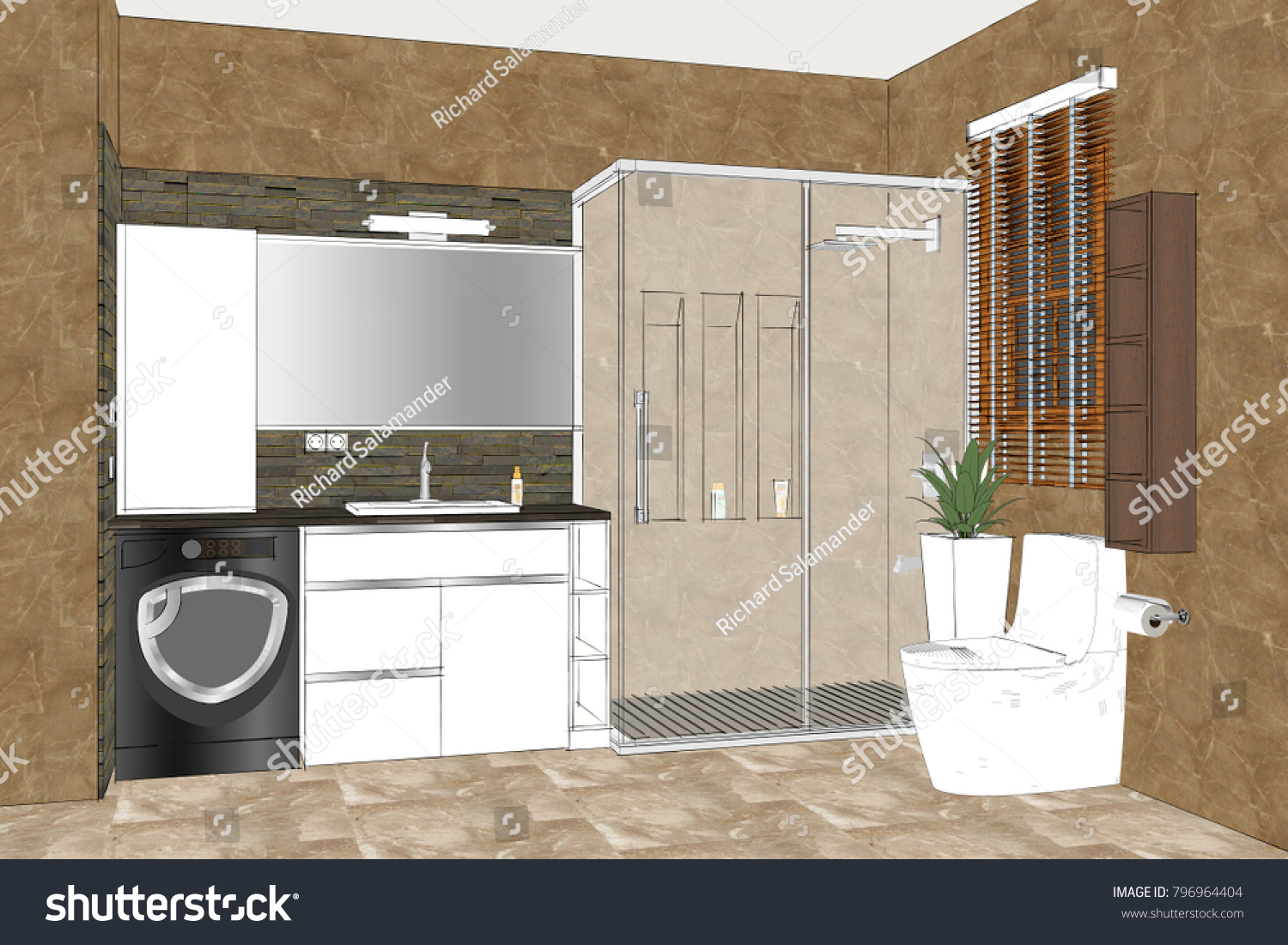 bathroom furniture designs. Linear Sketch Of An Bathroom Interior. Interior Design. Modern Furniture Designs B