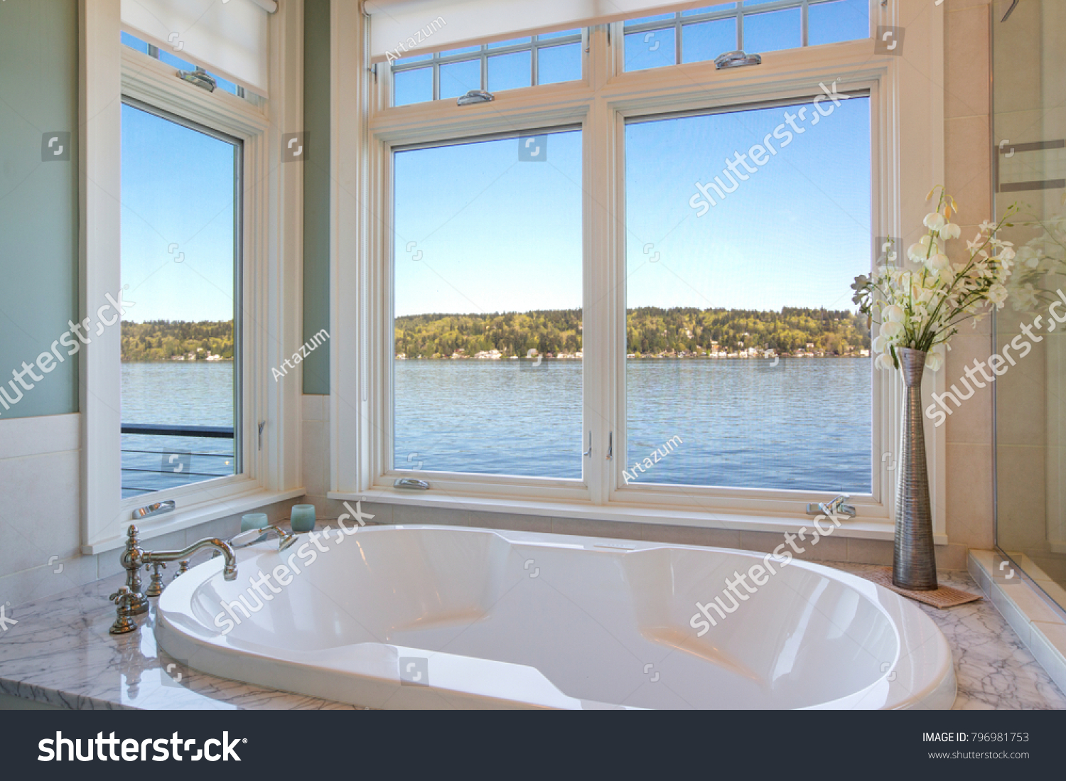 Fabulous Bathroom Features Nook Filled Tub Stock Photo (Royalty Free ...
