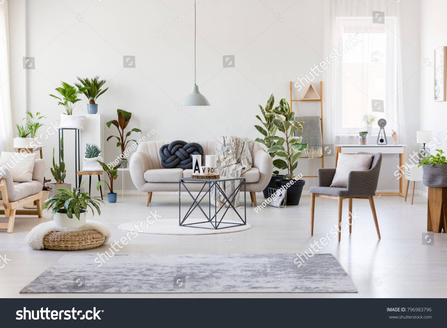 Gray Rug Pouf Armchair Spacious Floral Stock Photo (Royalty Free ...