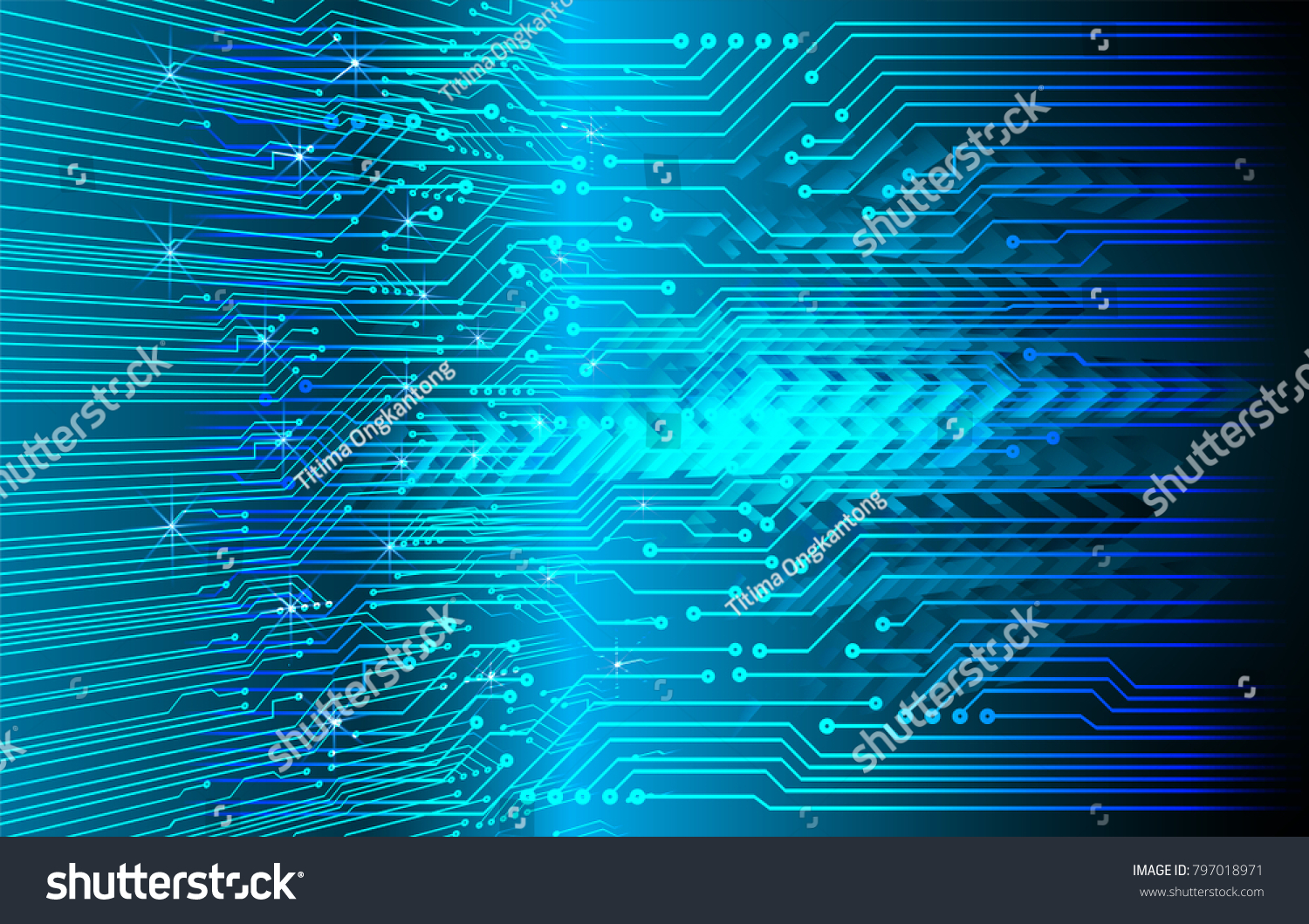 Blue Arrow Abstract Light Hi Speed Internet Technology Background Photo Of Vector With High Tech Circuit Board Illustration Conceptual Image Digital Cyber Security Concept Data