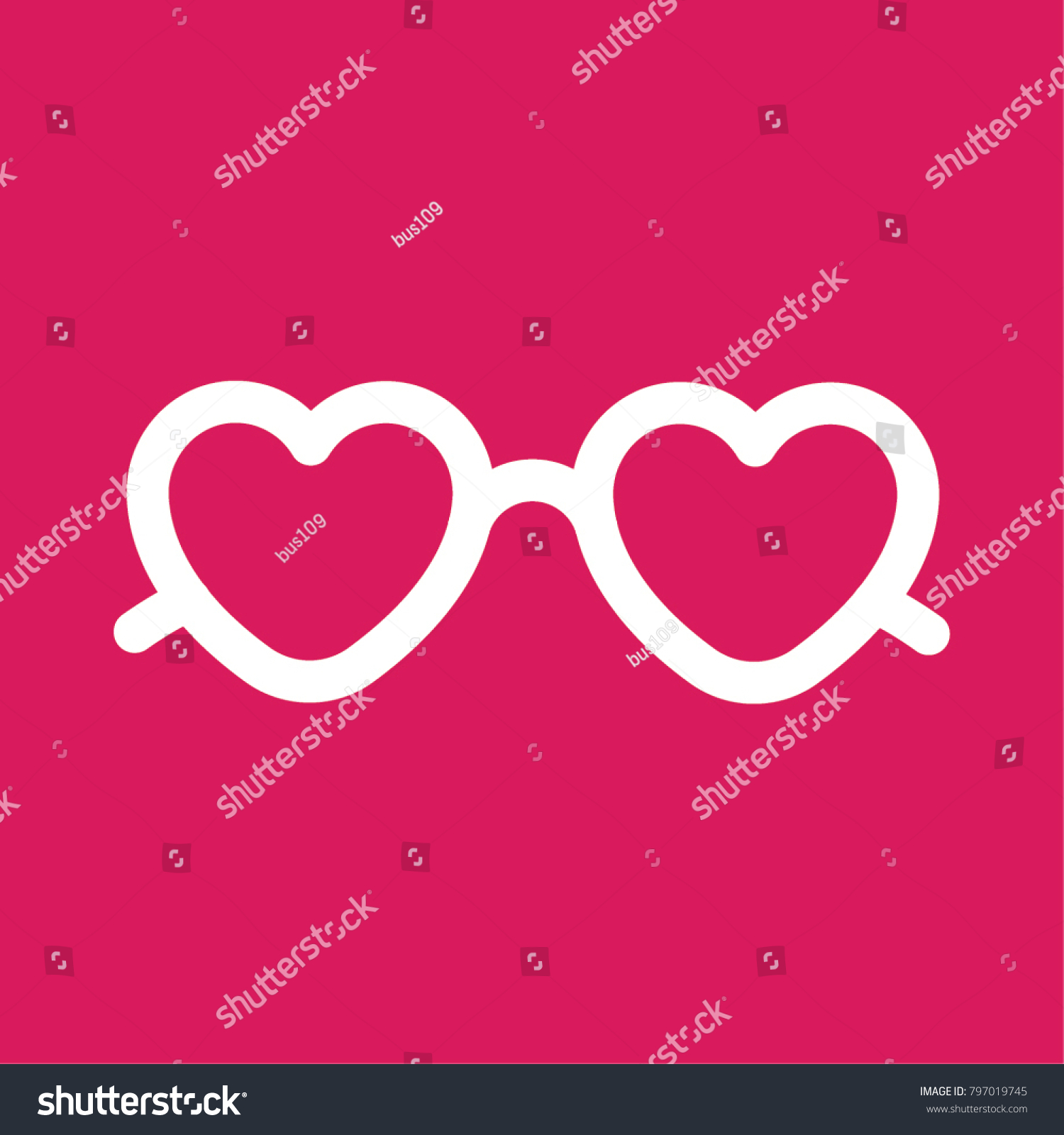58d98e324a7 Heart shaped love glasses. Suitable for valentine day card design. Vector