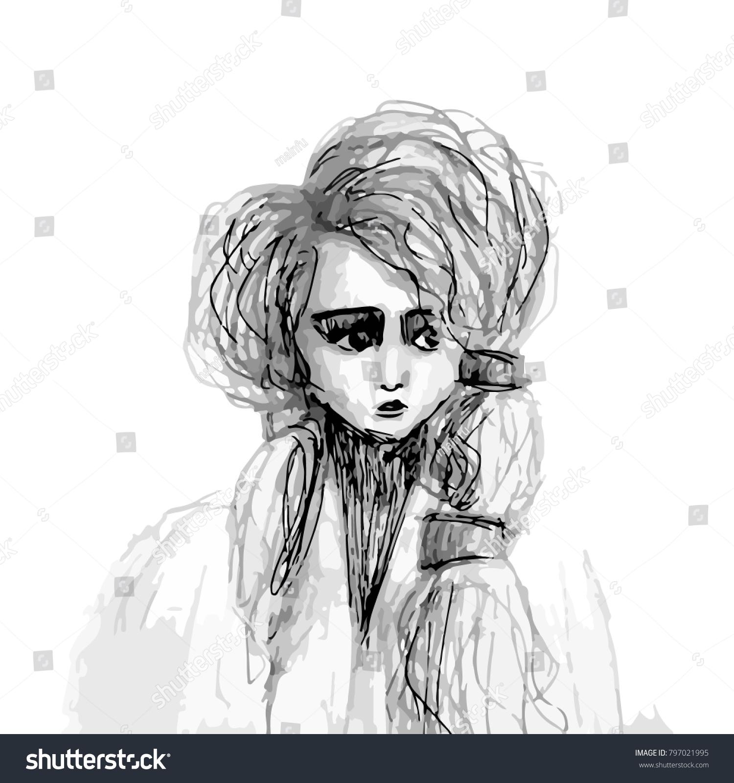 Sketch portrait sad girl fur coat stock image download now