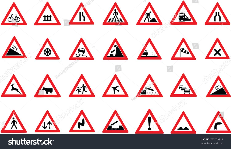 Traffic Signs Symbols Road Signs Vector Stock Vector Royalty Free