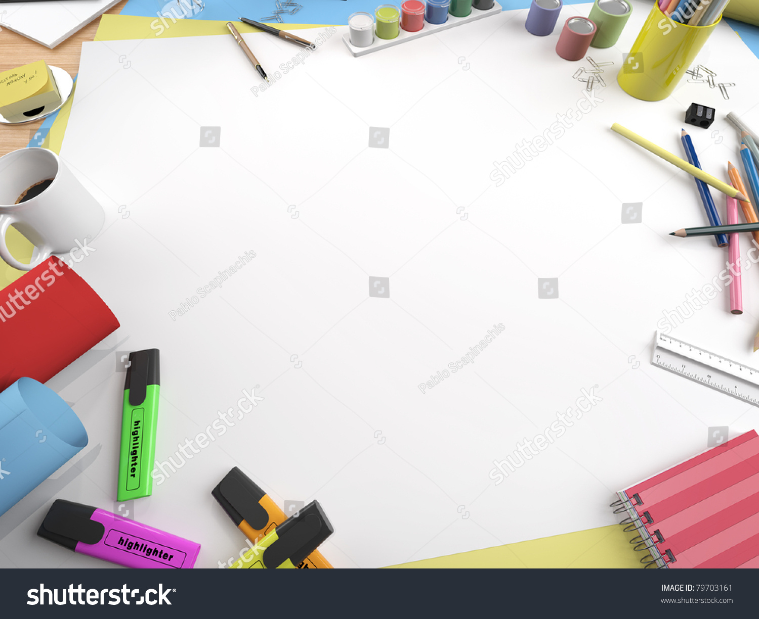 White Canvas On Drawing Table Lots Stock Illustration 79703161 ...