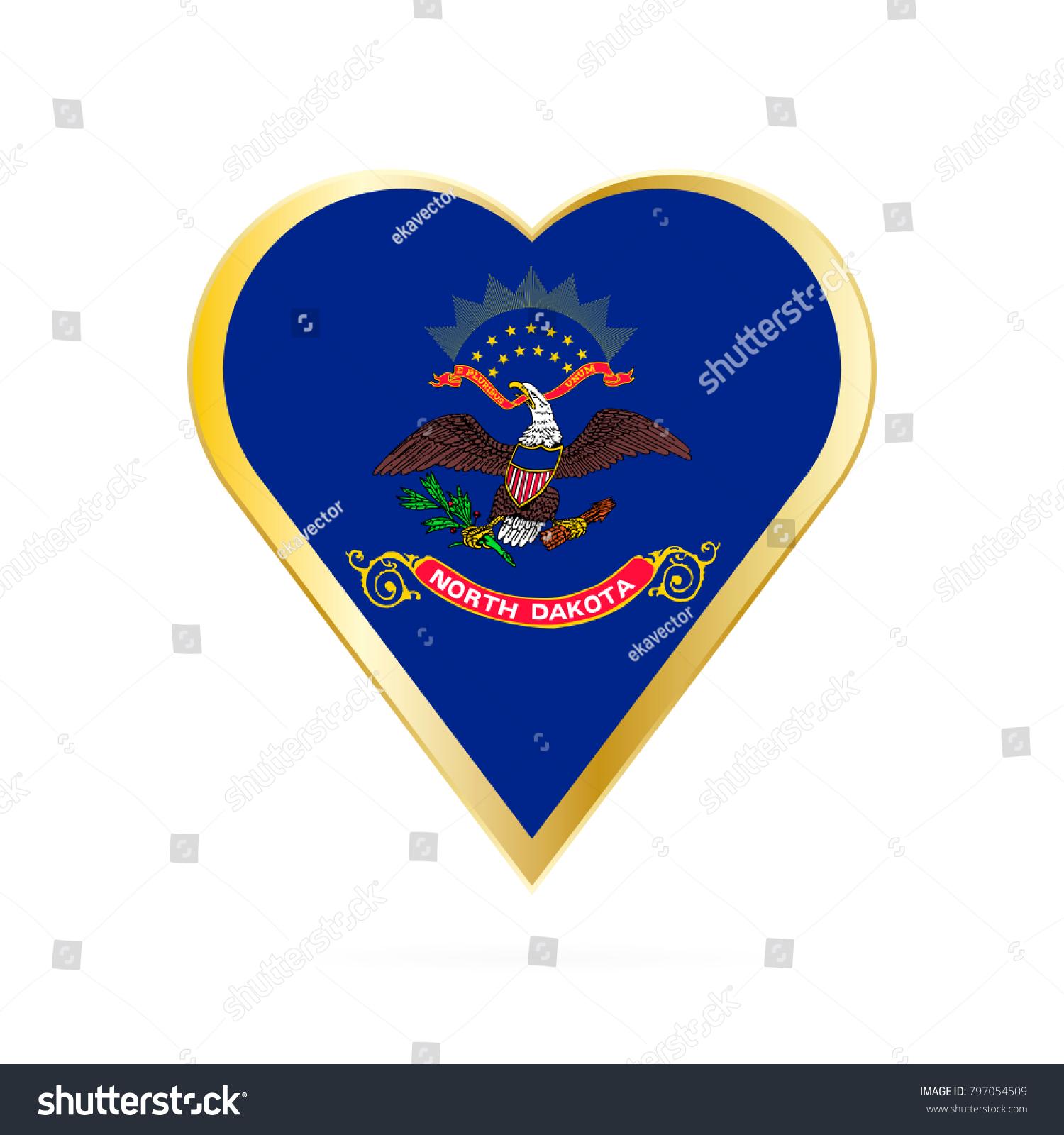Flag North Dakota Shape Heart Symbol Stock Vector 797054509