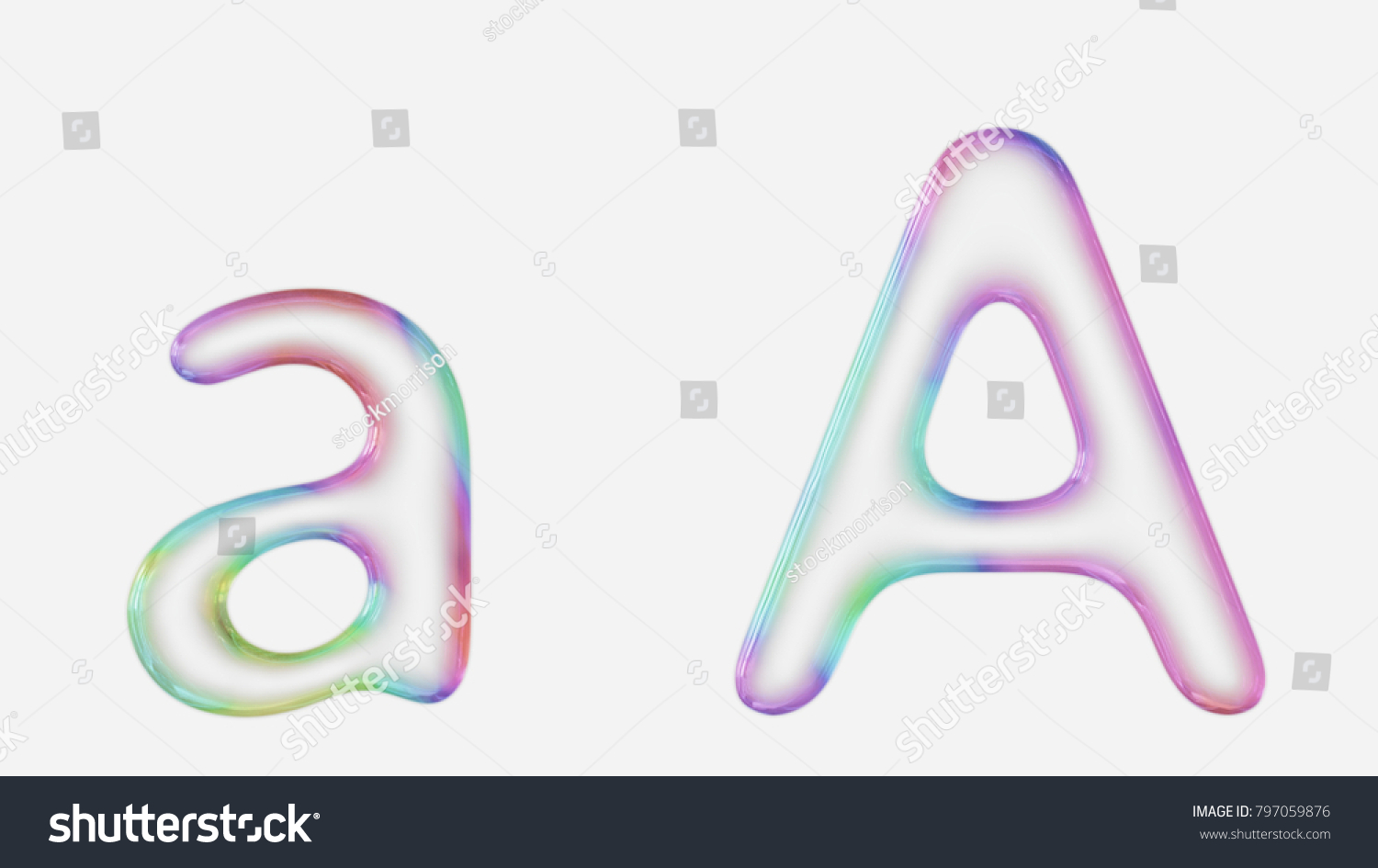 colorful bubble letter a in lower and upper case on a white background this image