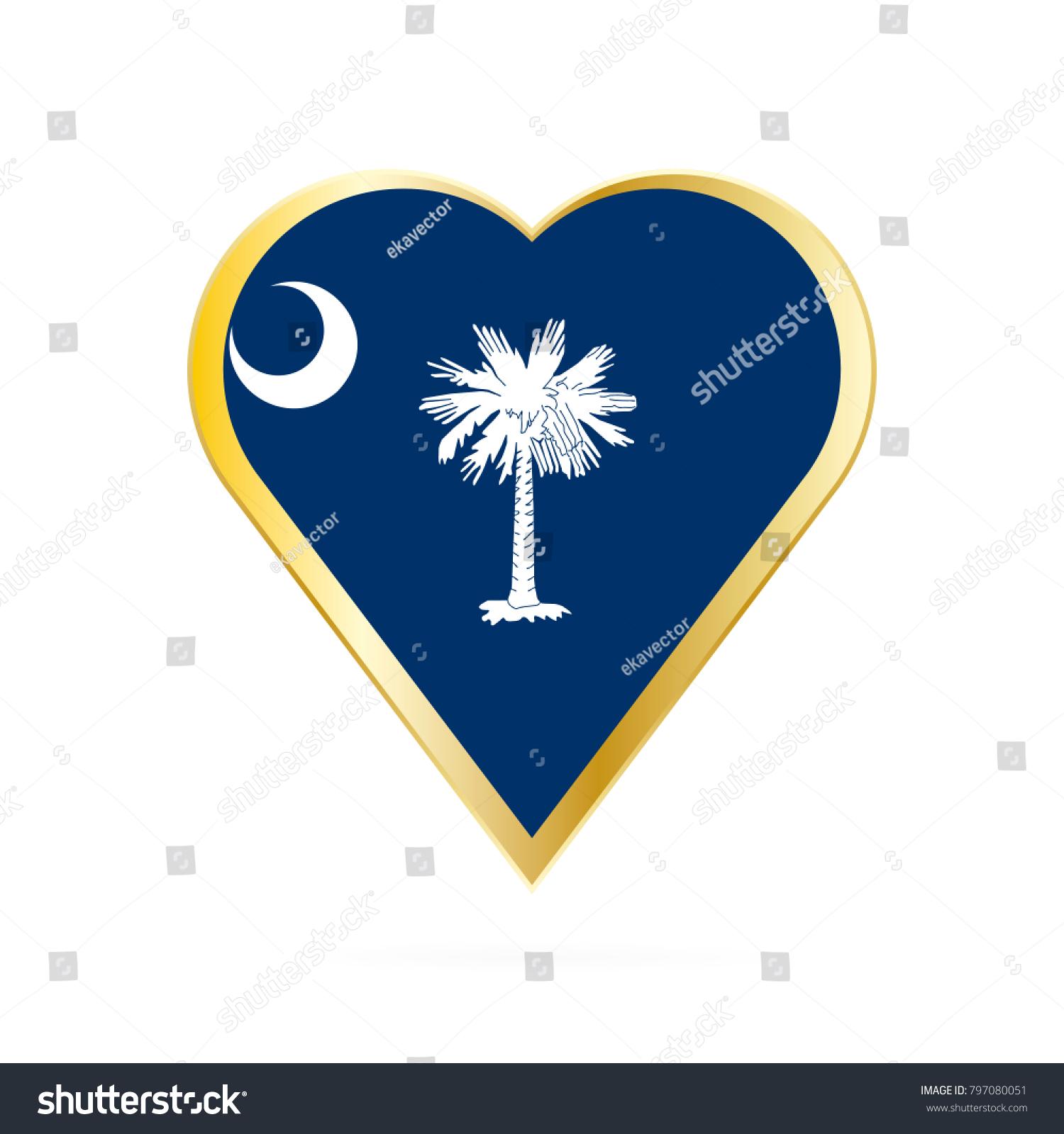 Flag South Carolina Shape Heart Symbol Stock Vector Royalty Free