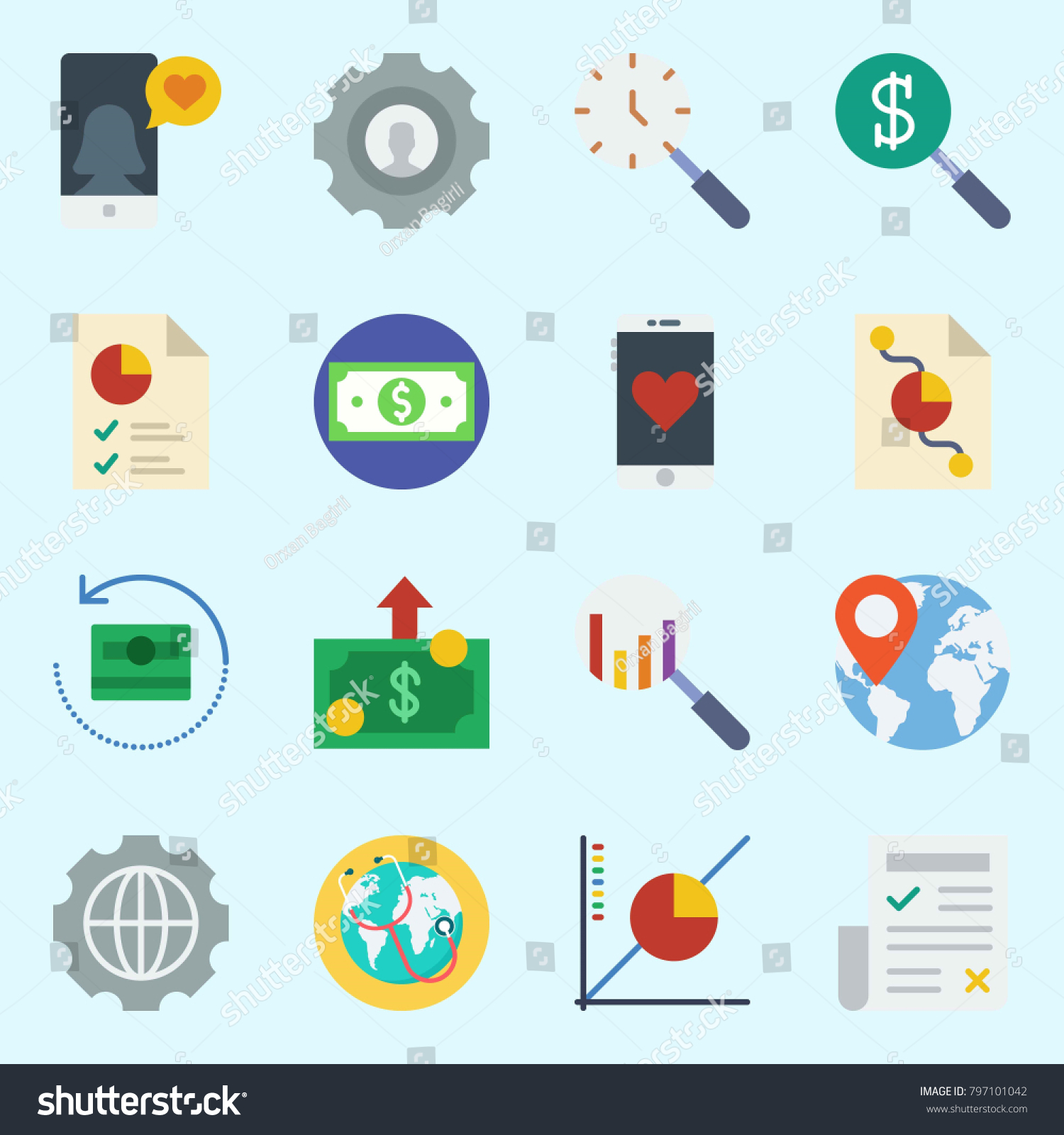 Icons set about marketing pie chart stock vector 797101042 icons set about marketing with pie chart smartphone search newspaper line nvjuhfo Image collections