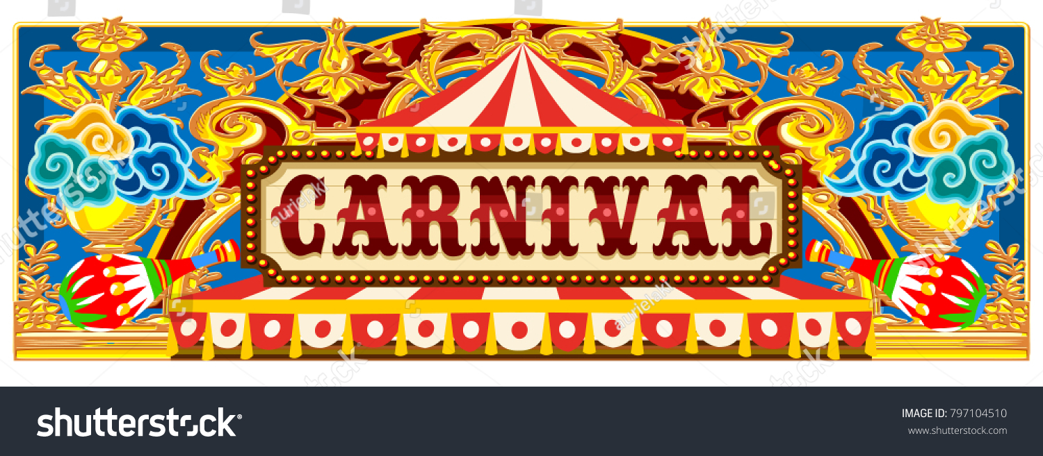 carnival banner circus template circus vintageのイラスト素材