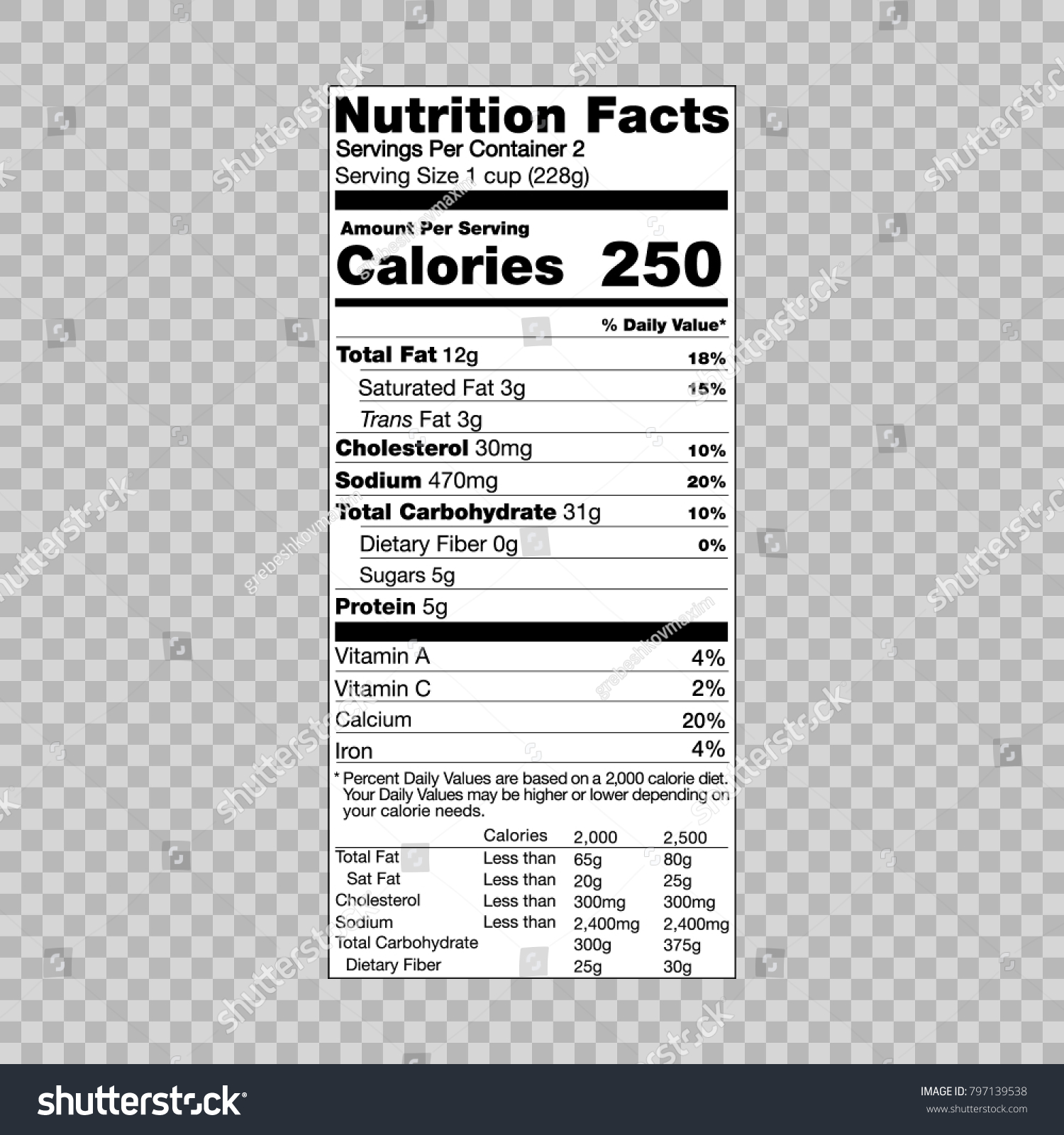 nutrition facts information template food label のベクター画像素材