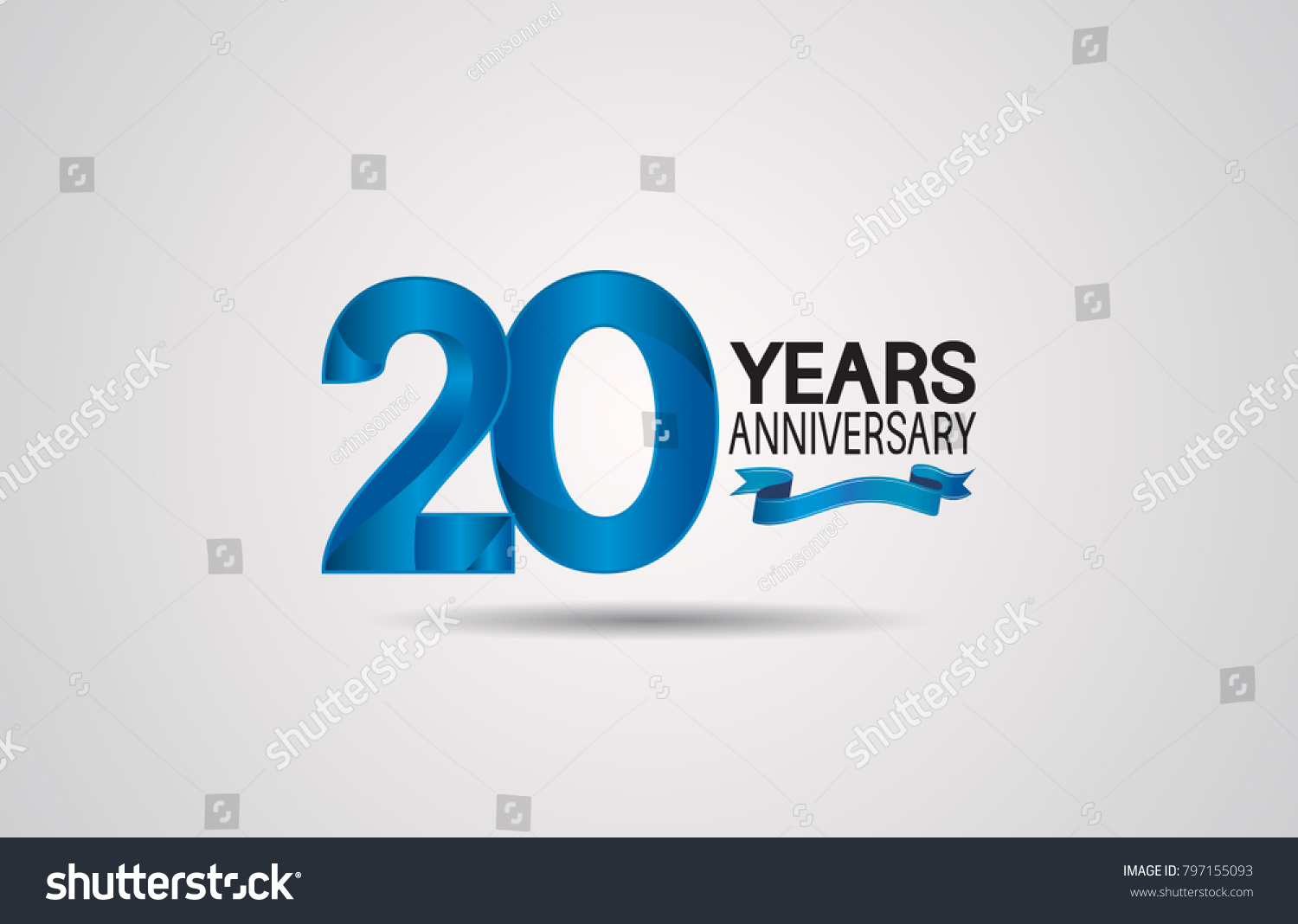 20 Years Anniversary Logotype Design With Blue Color And Ribbon