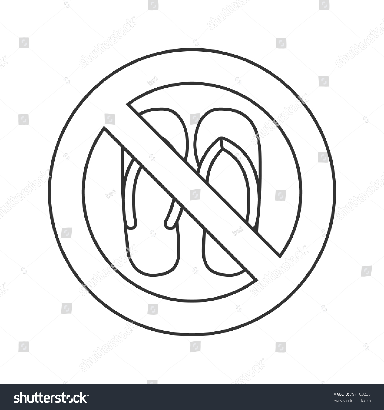 3338c931252fb Forbidden sign with slippers linear icon. Thin line illustration. No sandals