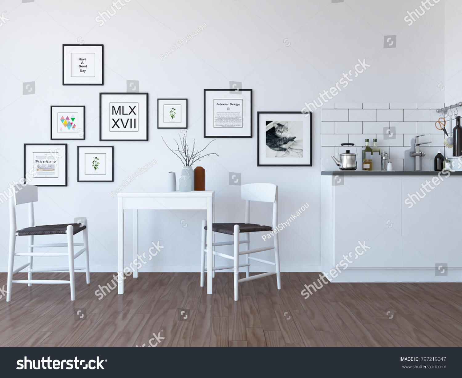 Idea of a white scandinavian kitchen room interior with pictures on ...