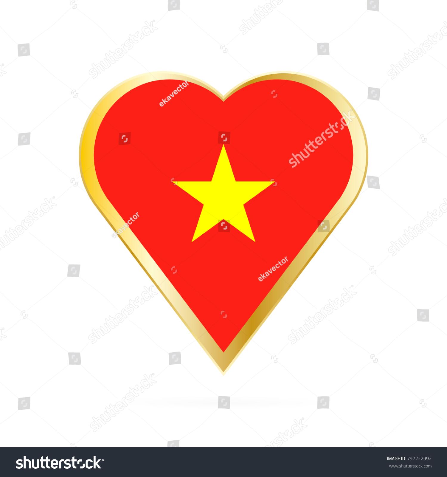 Flag Vietnam Shape Heart Symbol Love Stock Photo Photo Vector