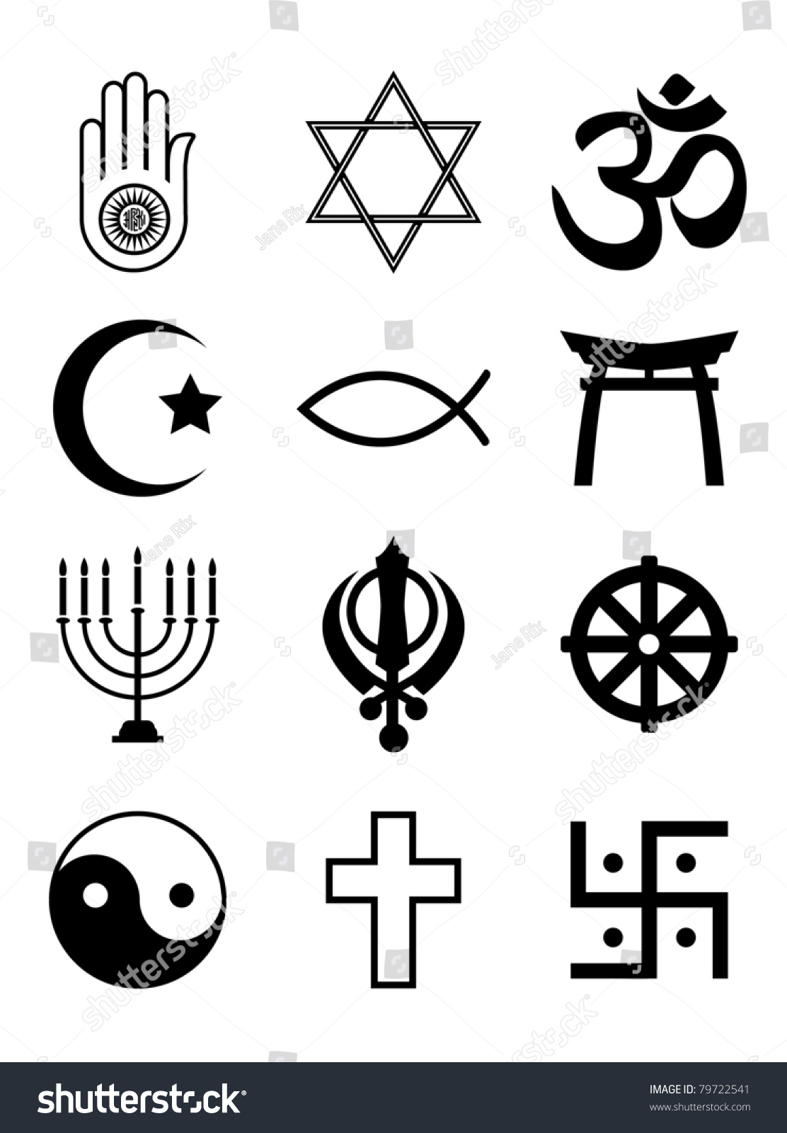 Set religious symbols black silhouettes isolated stock vector a set of religious symbols black silhouettes isolated on white eps10 vector format buycottarizona