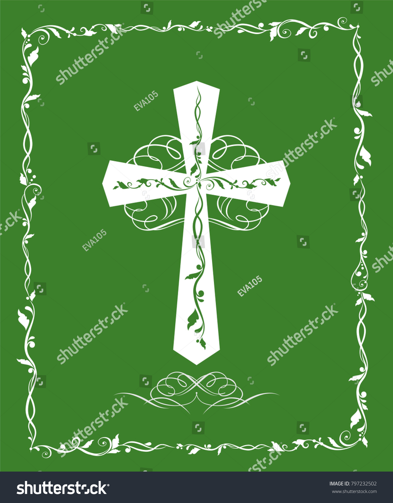 Symbols and rituals of baptism images symbol and sign ideas green greeting card catholic cross baptism stock vector 797232502 green greeting card with catholic cross for biocorpaavc Image collections