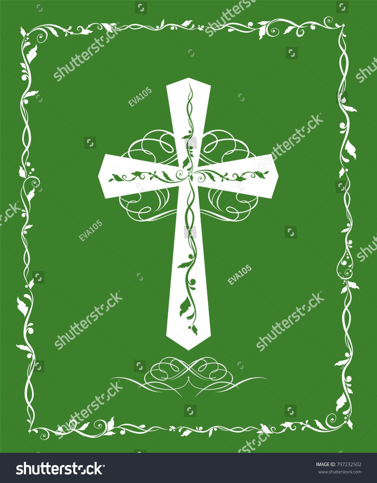 Green Greeting Card Catholic Cross Baptism Stock Vector Royalty