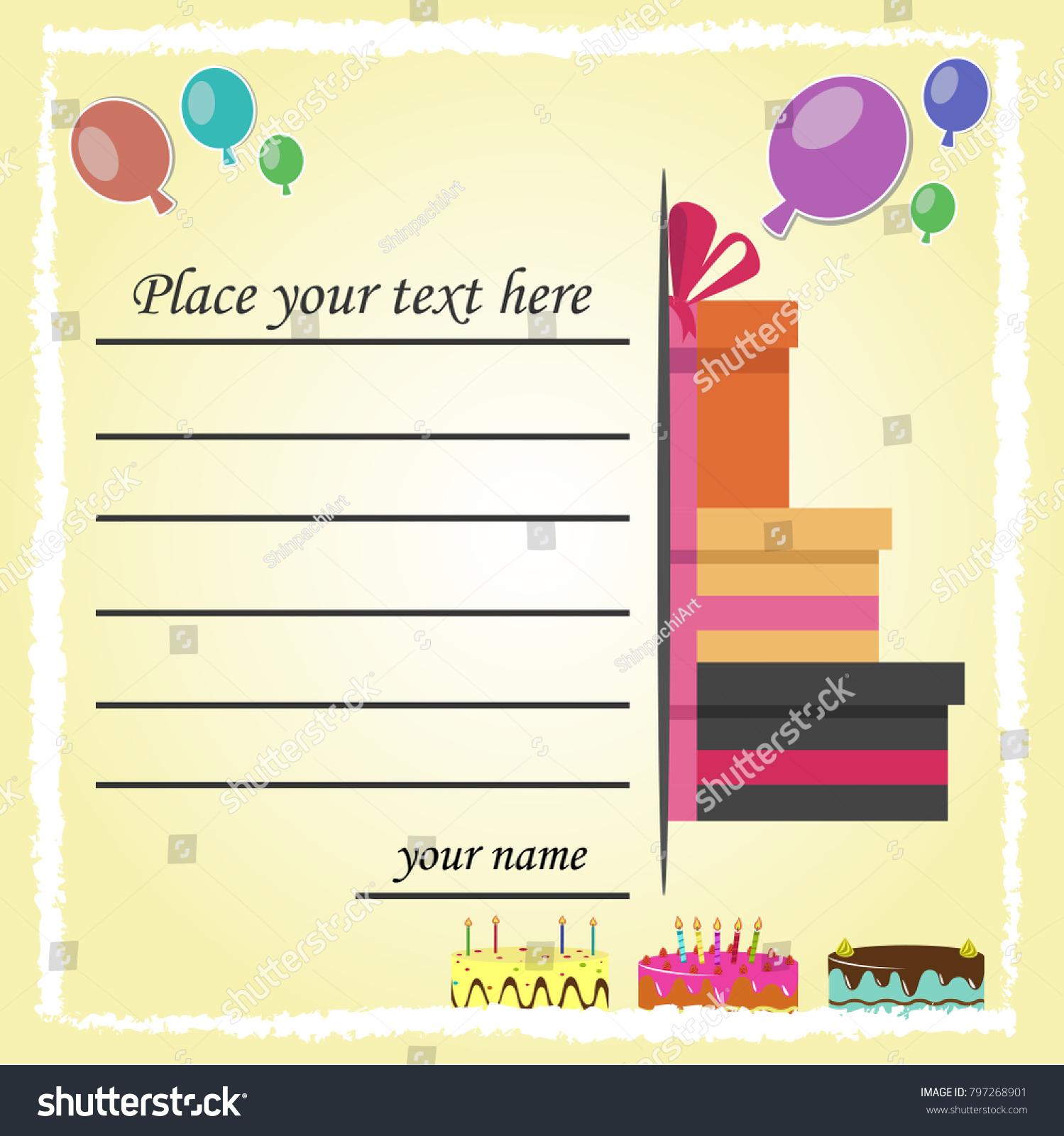 Happy birthday invitation card design cake stock vector 797268901 happy birthday invitation card design with cake gift box balloons and text flat stopboris Gallery