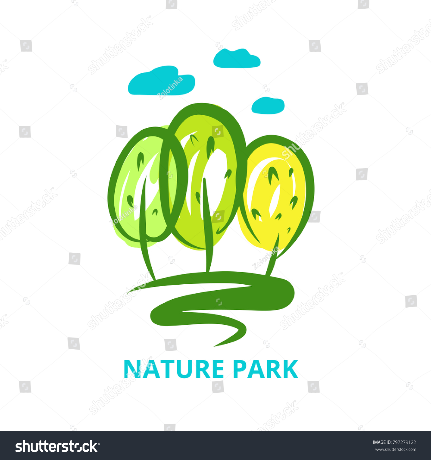 Nature National Park Template Logo Silhouette Stock Vector 797279122