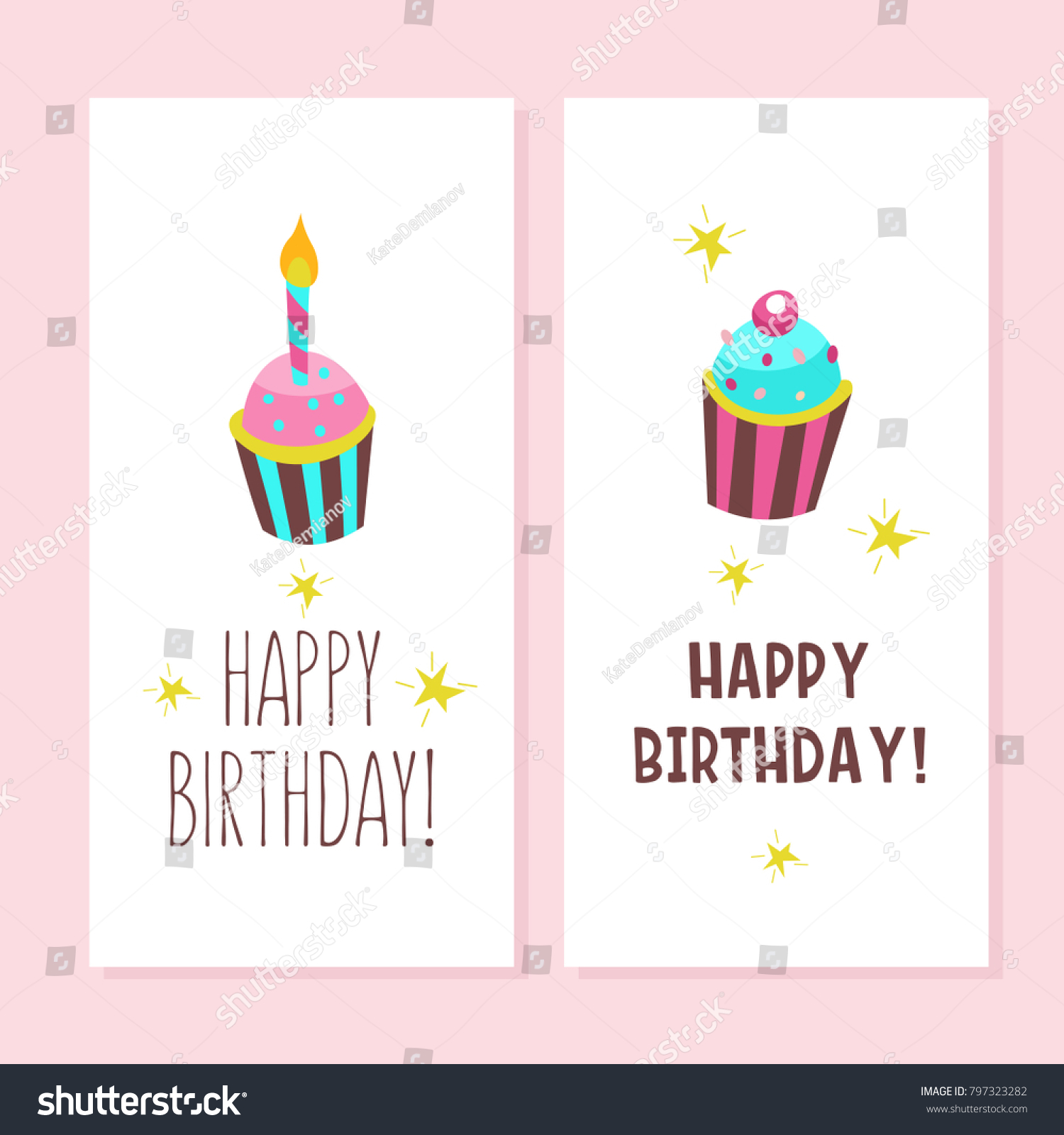 Happy Birthday Greeting Cards Cute Cakes Stock Vector 797323282