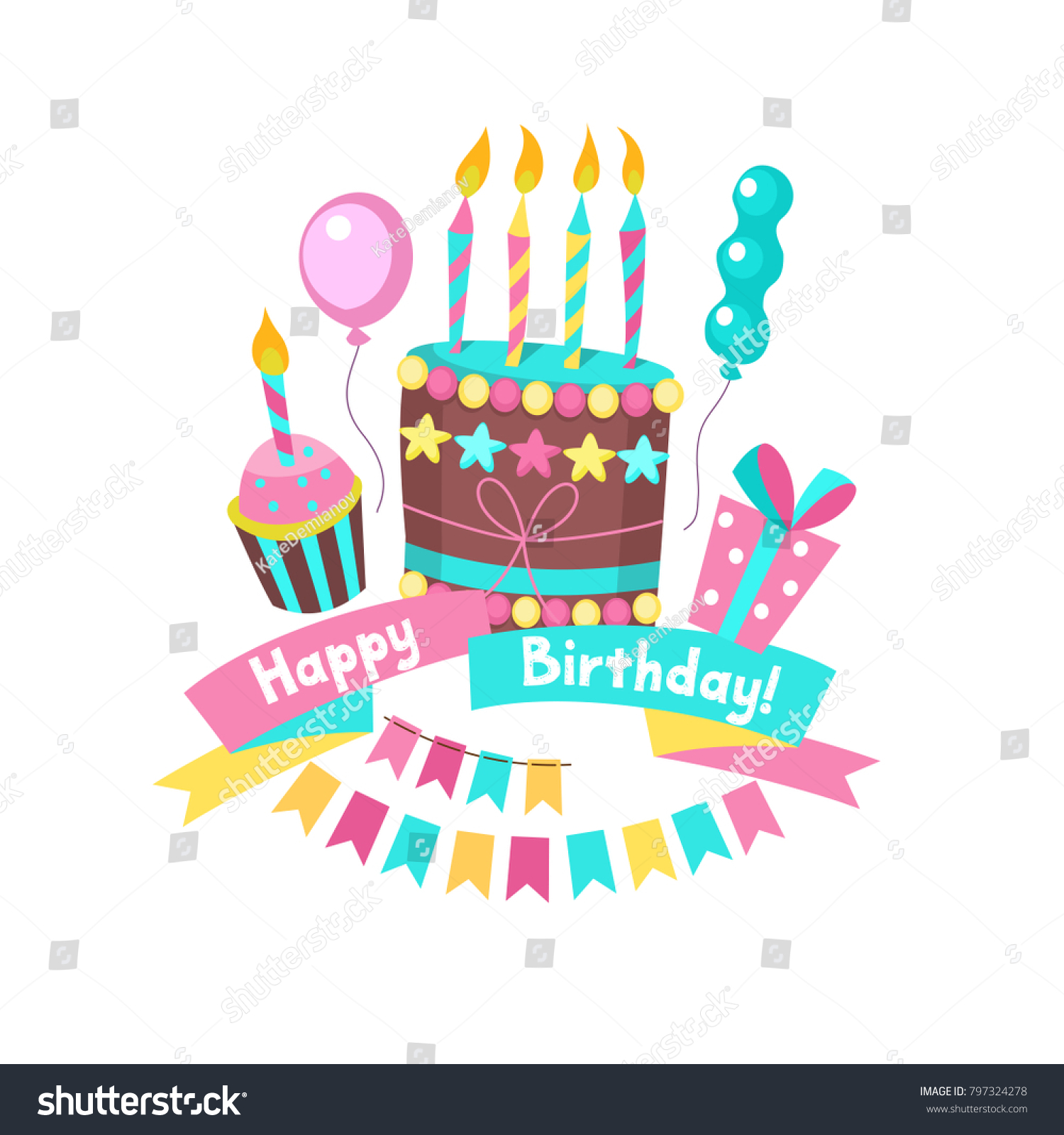Happy birthday greeting cards cake with candles ribbons balloons id 797324278 m4hsunfo