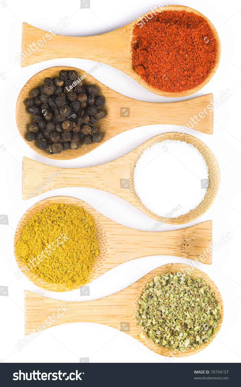 Colorful Spoons: Bamboo Spoons With Colorful Spices Stock Photo 79734157