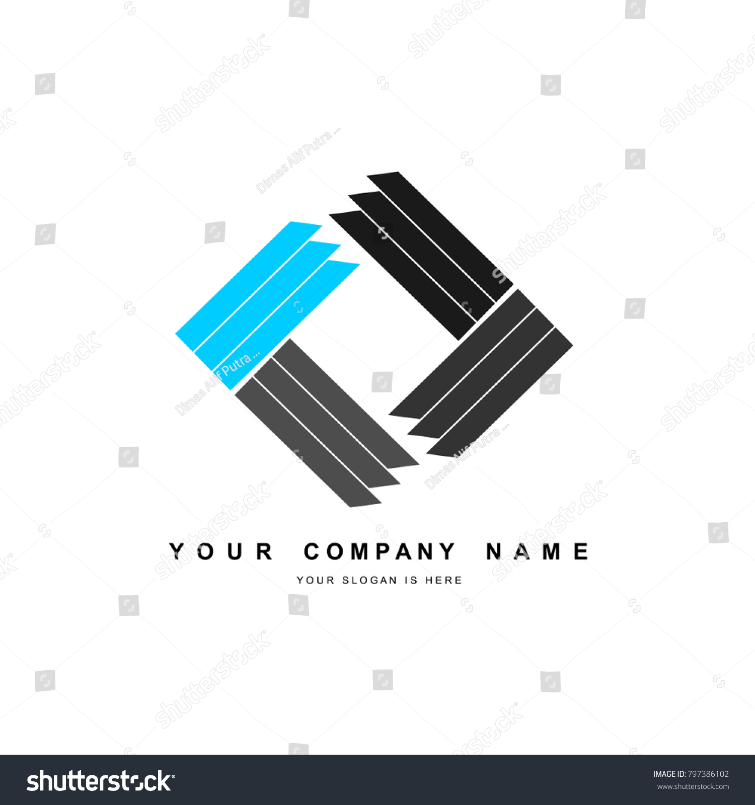 creative logo design of simple square objects and elegant concept for  company , industrial , education and creative project  exported as eps 10  format