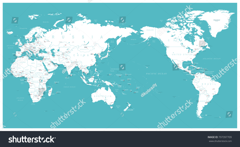 World map flat asia center vector stock vector 797397709 shutterstock gumiabroncs Images