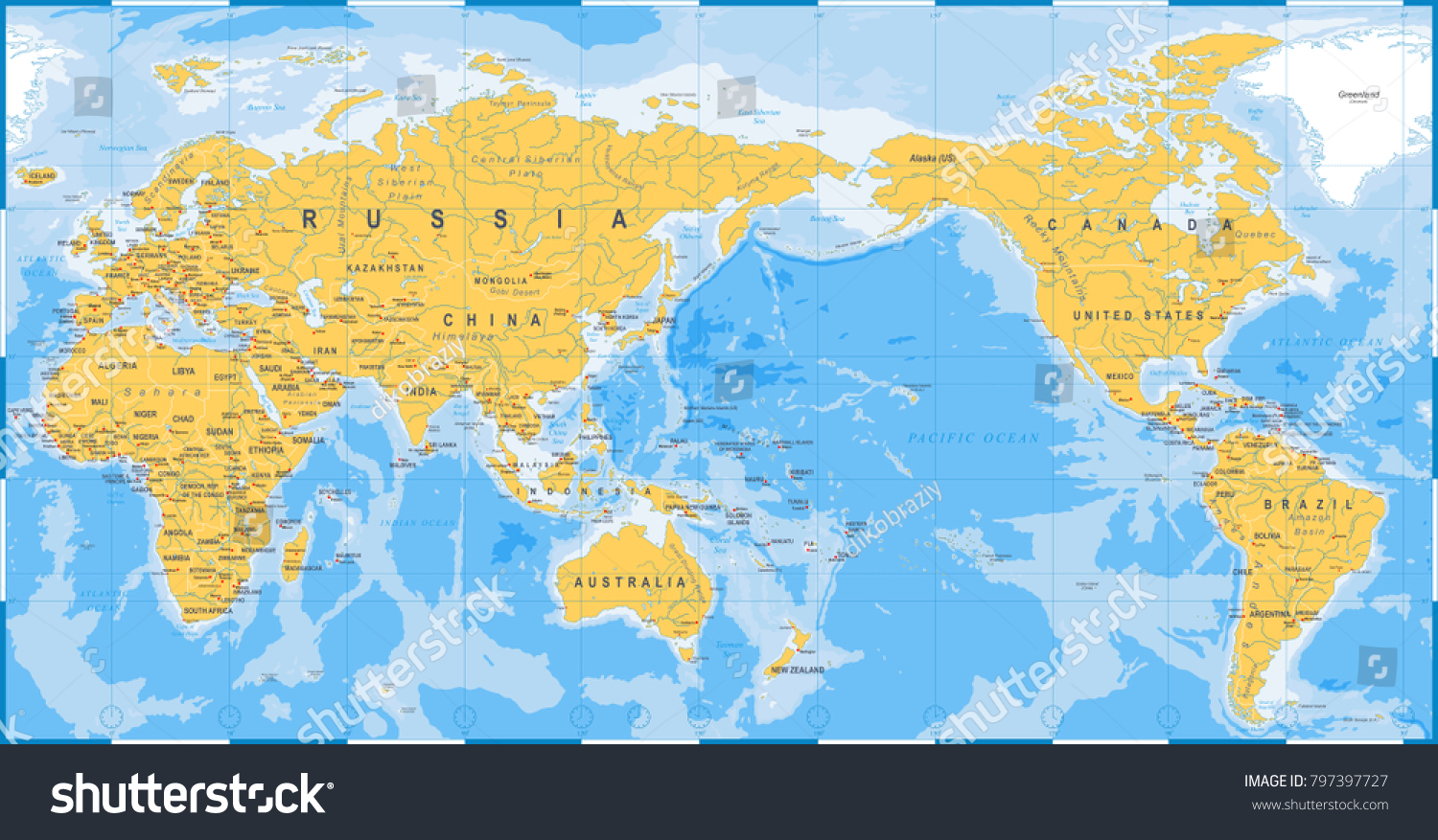 World Map Asia Centered.World Map Yellow Blue Asia Center Stock Vector Royalty Free