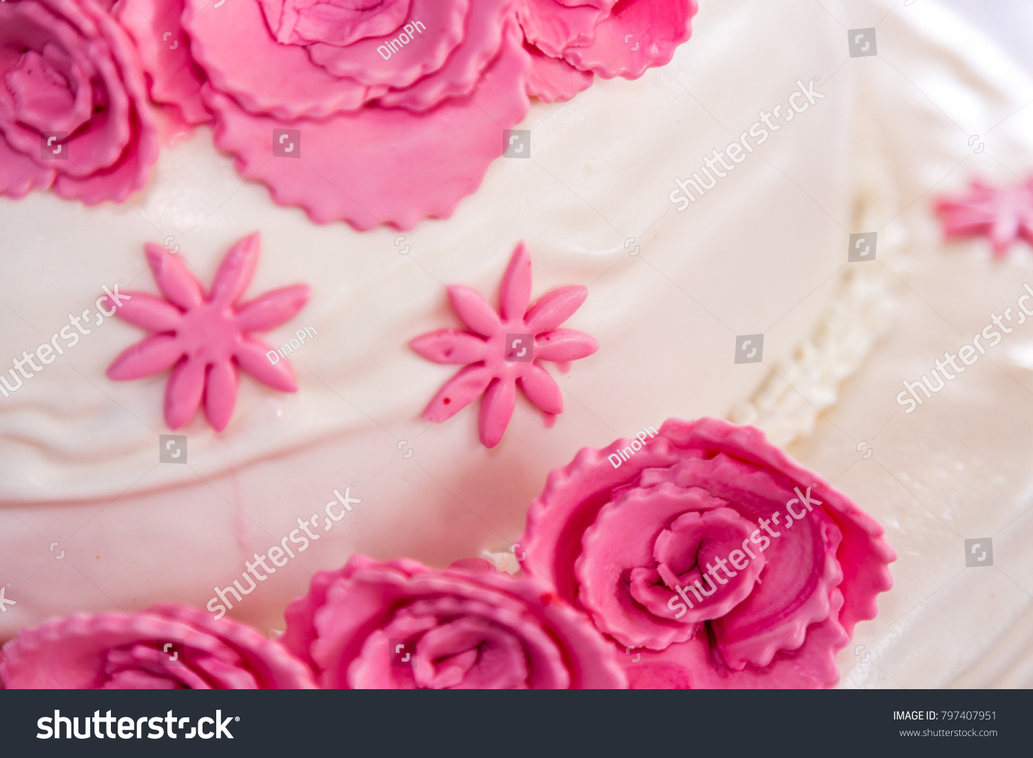 Cake Pink Floral Decoration Stock Photo (Royalty Free) 797407951 ...