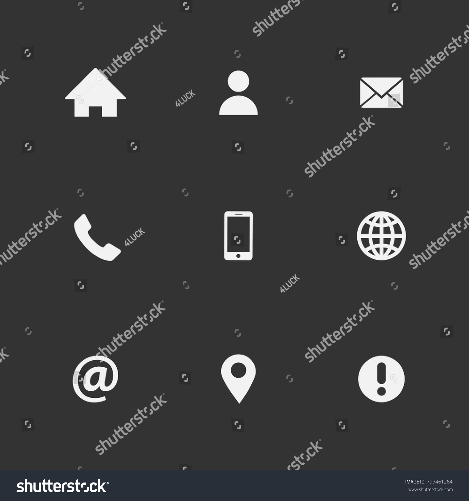 Icons Business Card Vector Set White On Black Background