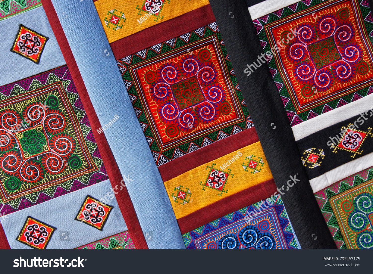 Handicrafts Embroidered By Flower Hmong Women Stock Photo Edit Now