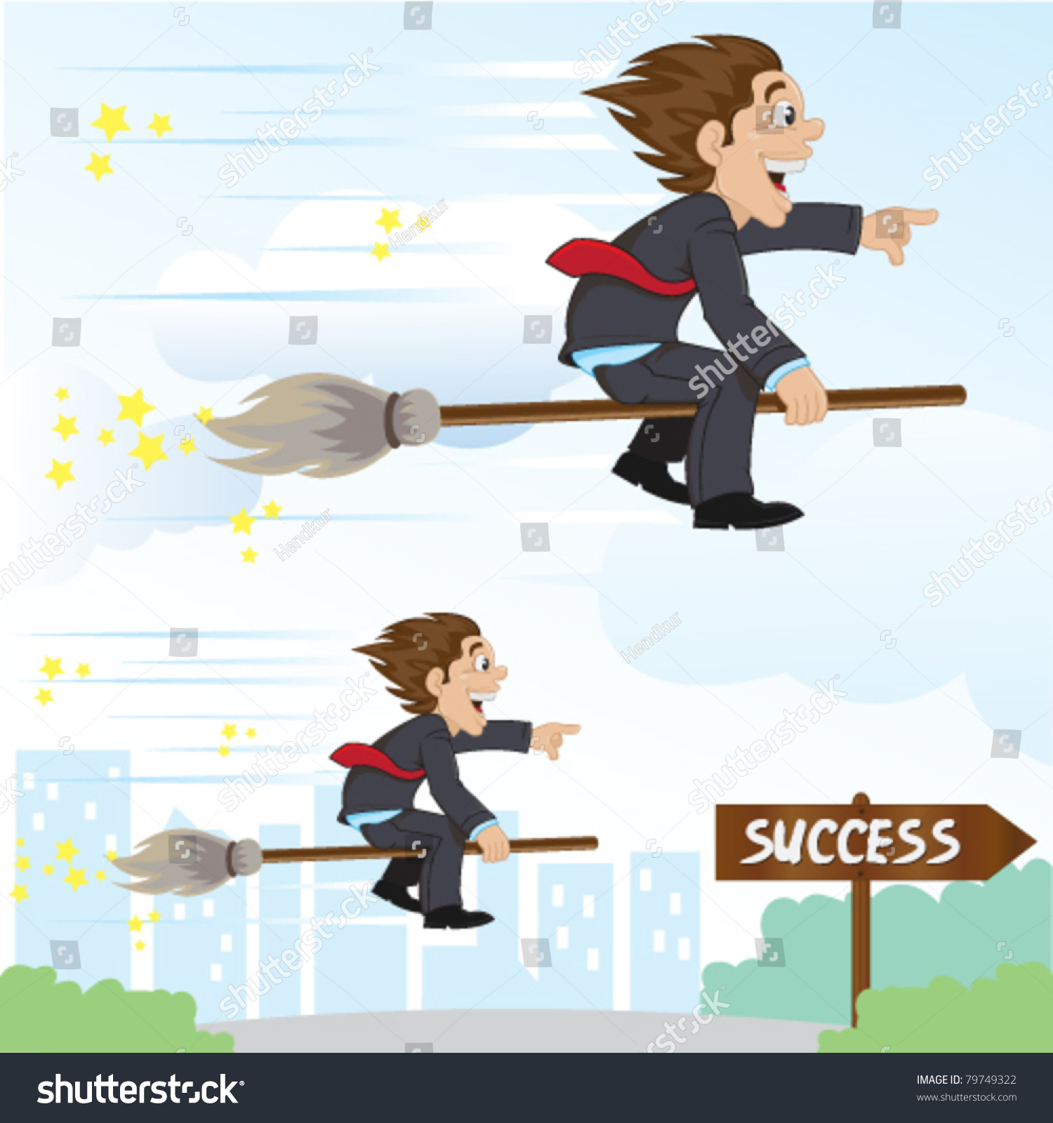 Funny Businessman Riding Magic Broom Success Stock Vector Royalty Free 79749322