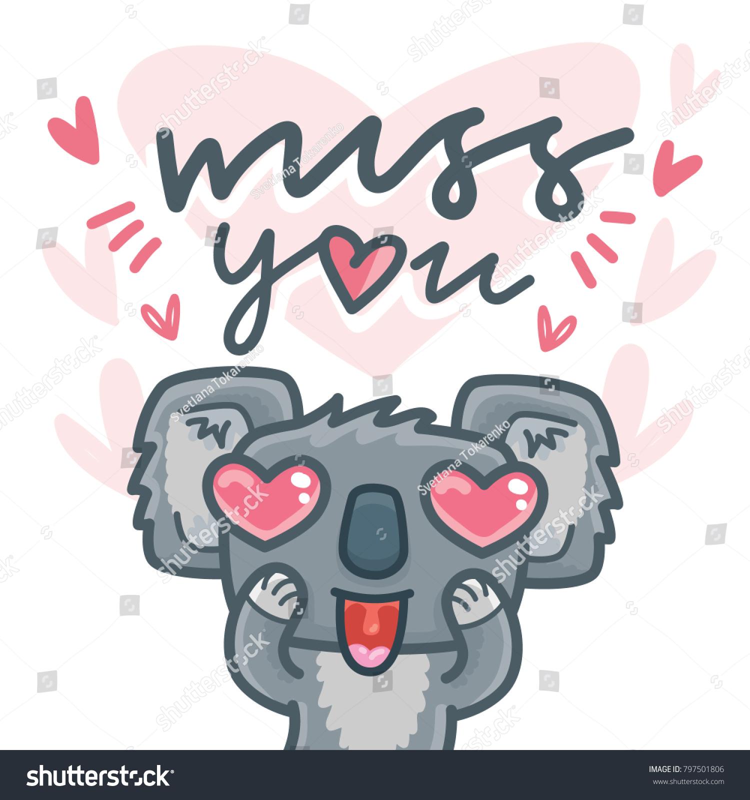 Cute Card Koala Bear Character Madly Stock Vector Royalty Free