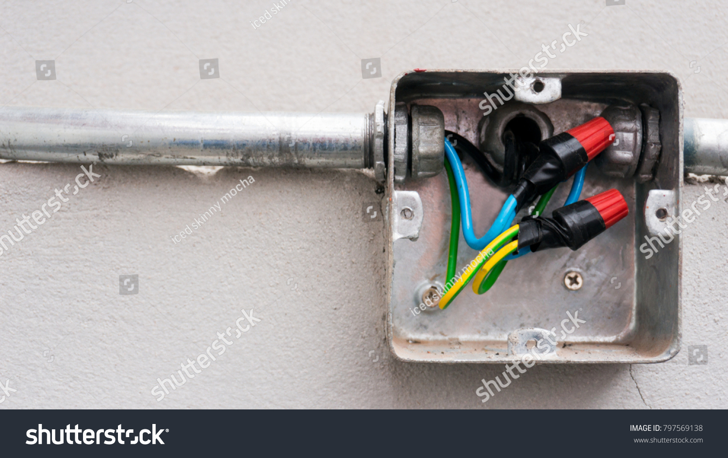 Unfinished Metal Electric Outlet Box Stock Photo Edit Now Wiring Electrical Wall Outlets Tubes And Wires Installed On The Concrete