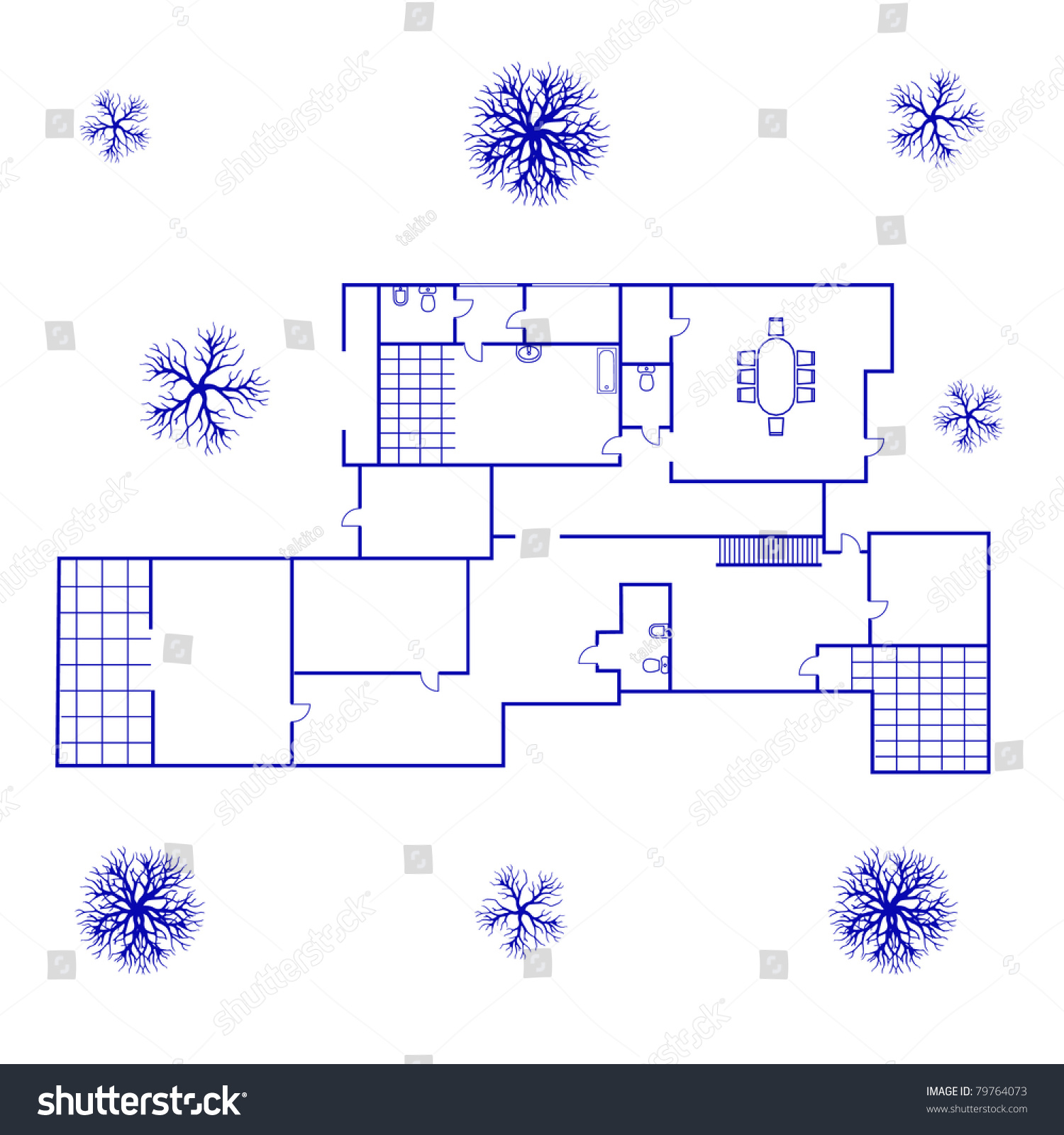 Architectural background blueprint big house blue stock vector architectural background blueprint of big house in blue color malvernweather Gallery