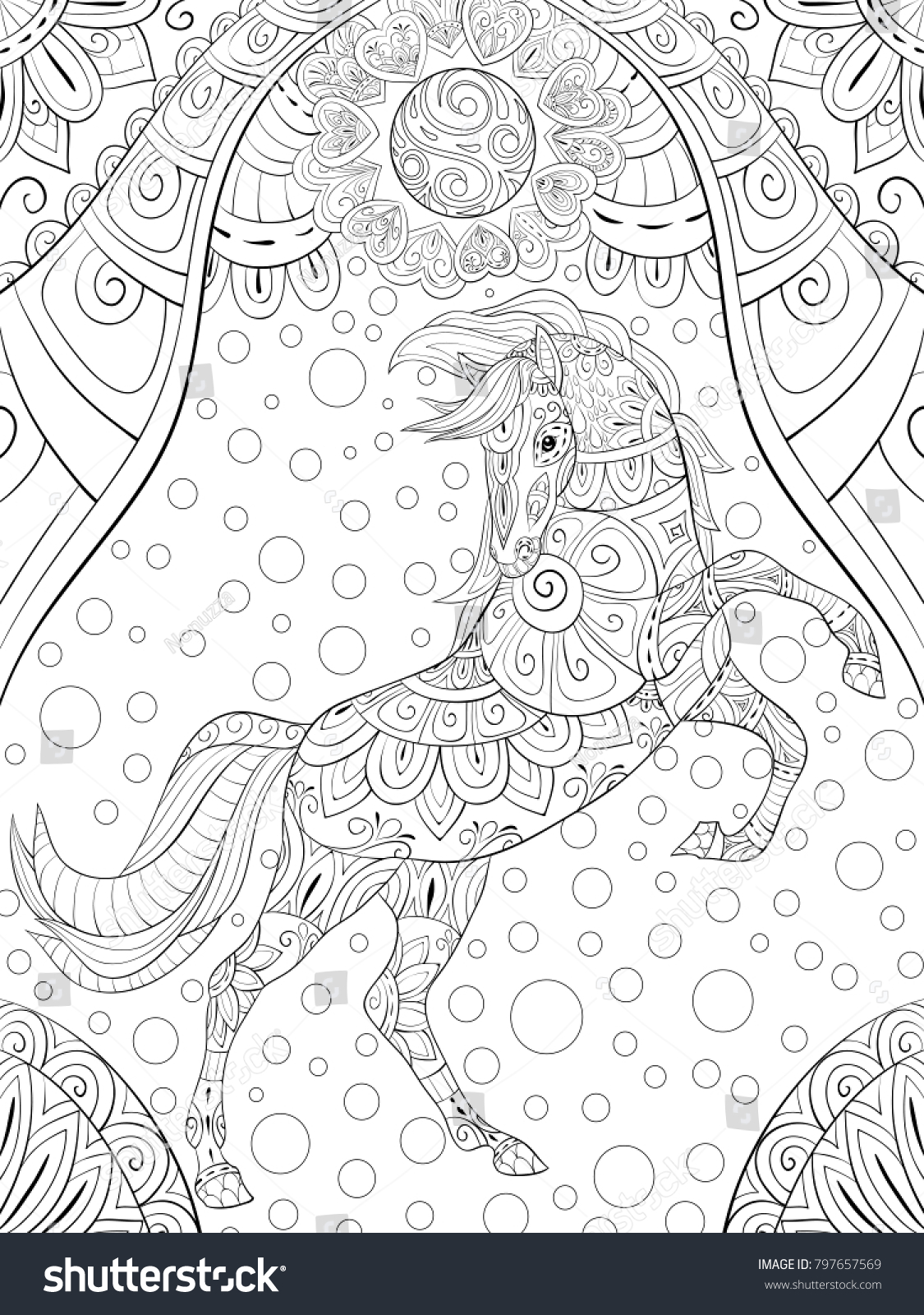Adult Coloring Bookpage A Cute Horse On Abstract Backgrounda Valentines Day
