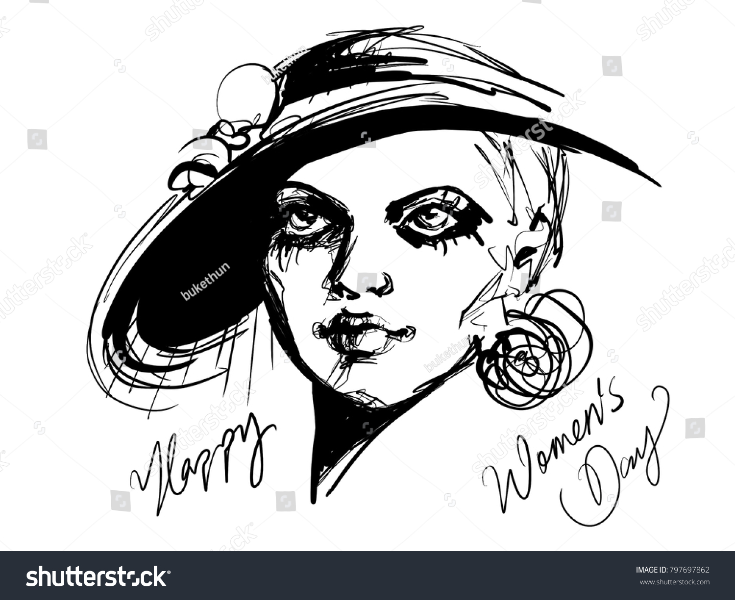Happy womens day design with artistic pencil sketch vintage woman portait