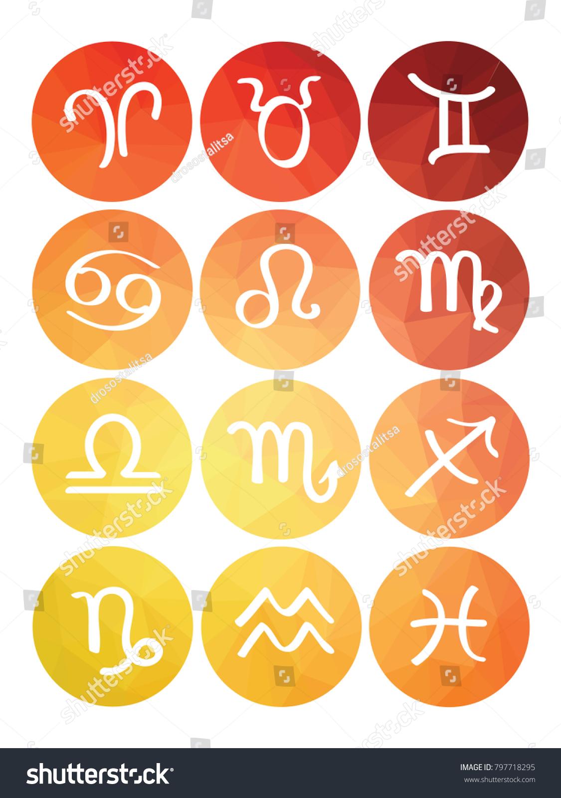 Set Horoscope Symbols Isolated Icons Astrology Stock Vector Royalty