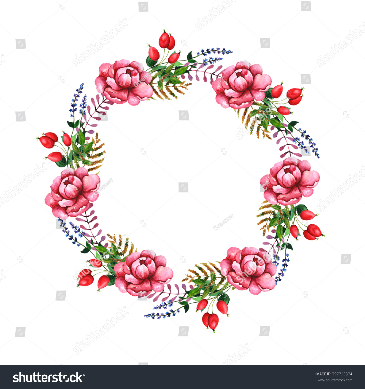 watercolor wreaths wildflowers leaves you can stock illustration