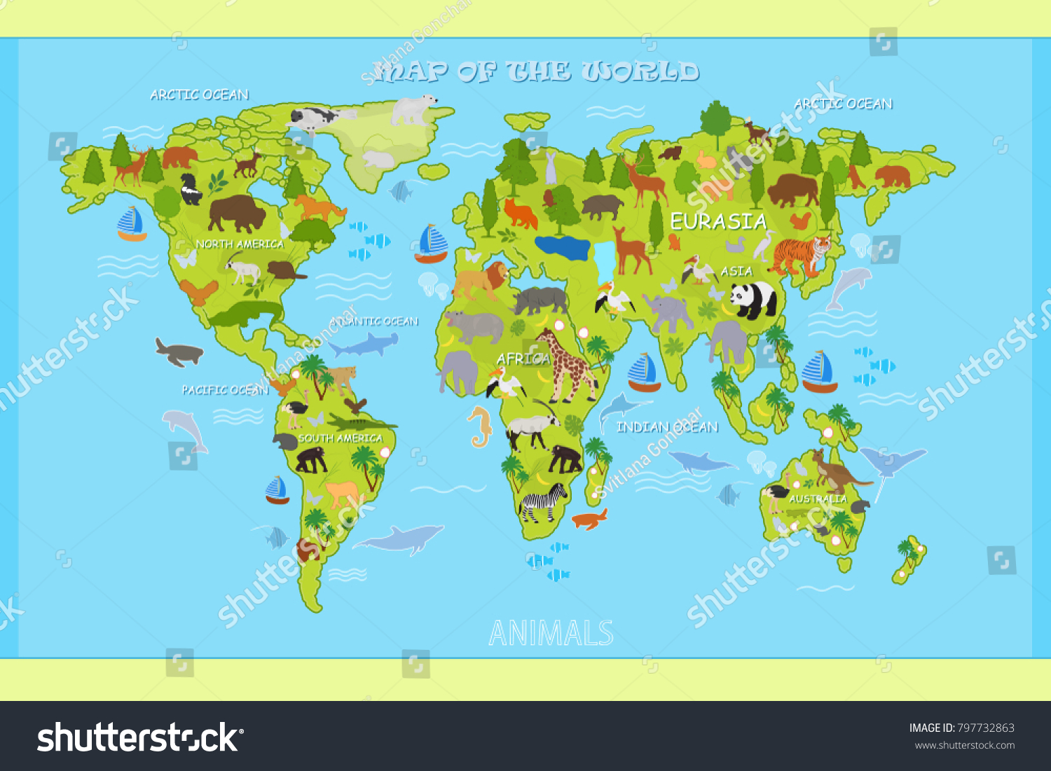 Map of the world with oceans vector map world animals stock vector map of the world with oceans vector map world animals plants stock vector 797732863 shutterstock gumiabroncs Gallery