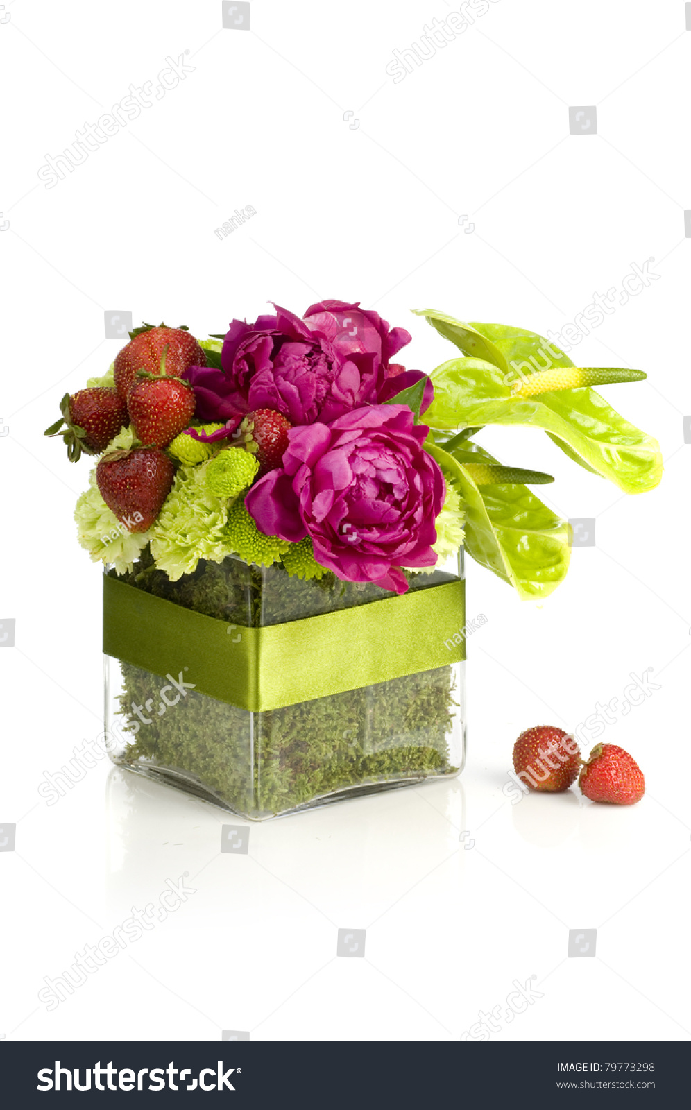 Peony Flower Bouquet Strawberry On White Stock Photo (Royalty Free ...