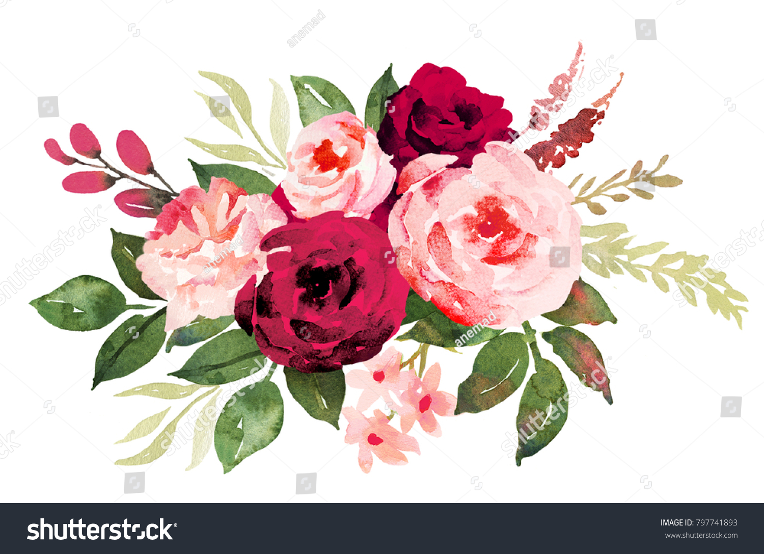 Flower Bouquet Red Pink Roses Watercolor Stock Illustration